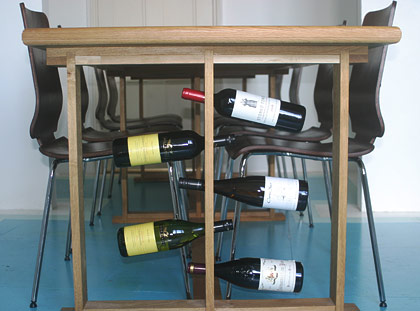 Custom Dining Room Table With Wine Rack, Brighton & Hove